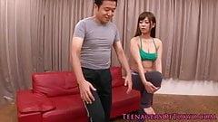 Japanese teenager cumshot after her workout