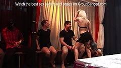 Smoking hot mature German blonde loves 10 guys fucking her