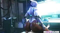 Big ass 3D ebony robot riding huge dick