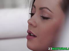 Hot tiny babe Lou masturbating