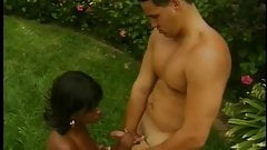 Sexy ebony gets her mouth and fuck holes filled by a huge white cock outdoors