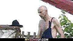 Old man helps his son's GF cum