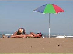 Handjob on the beach.mp4