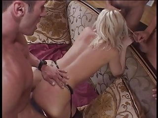Beautiful blonde slut gets spitroasted and sucks off two big dick guys