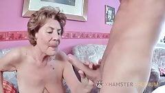 Drops of love rain from Granny Kerstin's ragged pussy