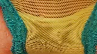 Peeing in see-through lace panties 1