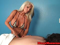 Mature masseuse dominates with hugetits