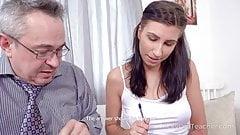 Mature teacher tries to make sexy brunette listen to him