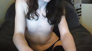 Pretty Tgirl masturbate in panties