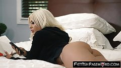 Restrained blonde bombshell Brandie Bae takes on a huge cock