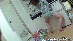 Japanese female toying her pussy all alone
