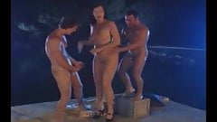 Angry German Mature gets fucked by her two slaves