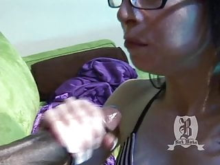 Pretty white girl wearing glasses gets filled up with a huge black cock