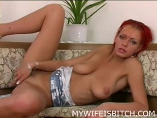 Horny crazy wife cumming with a big pink dildo
