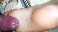 Cum on wife's feet again!!  I can not stop cum on her soles!