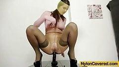 Mona Lee nylons fully covered dildo masturbation video