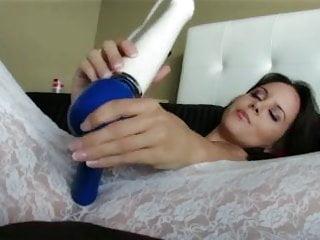 beatiful woman in lingere masturbates - hitachi magic wand