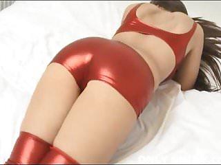 My shiny red PVC panties really hug my shaved pussy