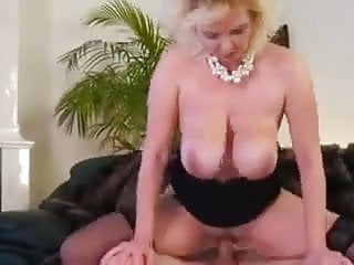 Beautiful mom with saggy big boobs & guy