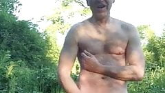 exhibitionist dad strokes outside