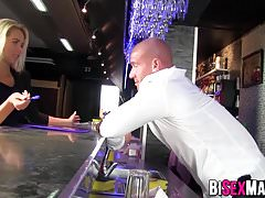 Amazing bi couple fucking the bartender