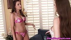 Lesbian bikini model pussy licked eagerly