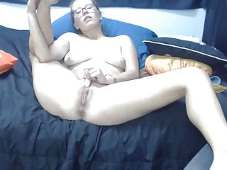 Adorable student Courtney with sexy glasses and tongue pierc
