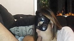 masked girlfriend show off her talent on cam