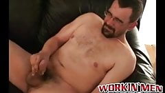 Nerdy mature amateur works on his dick until he cums