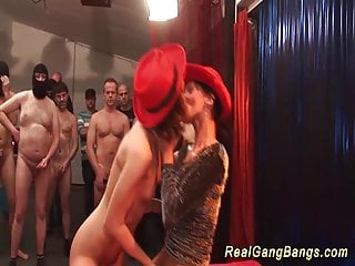 german chicks at her first gangbang party