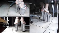 Webcam show with 10 inch Glitter heels