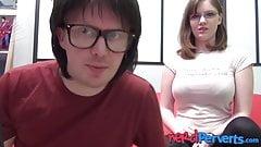 Nerdy chick with huge natural tits Jessica Lo sucks dick POV