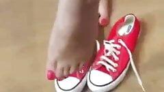 Red canvas, white rubber, fuchsia toenails (part 2)