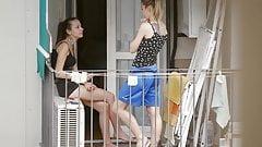 Tattooed teen neighbor with friend