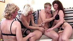 Grannyfucker fucks four mature whores