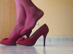 Red Nylon Heels
