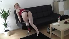 German Blonde Trys to Pay the Rent with Sex and Facial
