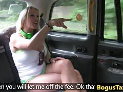 Blonde british slut tit fucks cabbies cock