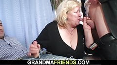 Very old busty granma in stockings swallows two cocks