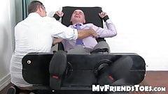 Feet fetish businessman takes a ride on my tickling machine