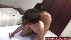 Ass fucked Japanese twink blows relaxed lovers cock