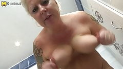 Tattooed MOM in red needs a good fuck