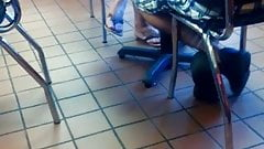 Candid Sexy Feet in Flip Flops at Johnny Rockets