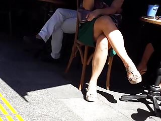 sexy mature crossed legs feets upskirt