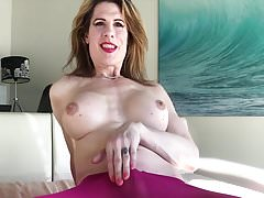 Mature Tranny Sprays Through Stockings In Hands Free Cum