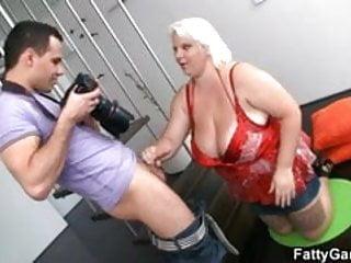 Blonde fatty fucks a photographer