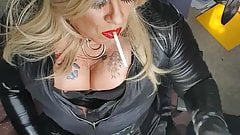 smoking shemale slut plays and teases in red lipstick pvc