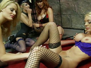 Sex hungry Stacey and friends play with toys on the floor