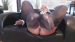 Mature german blonde solo footjob in nylon