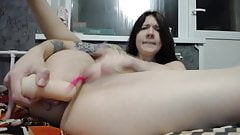 Cute pale brunette webcamer tries anal dildo